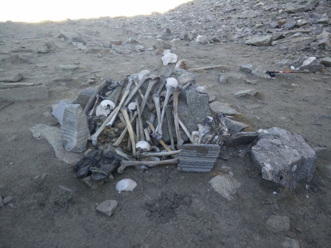 Human skeletons at Roopkund Lake