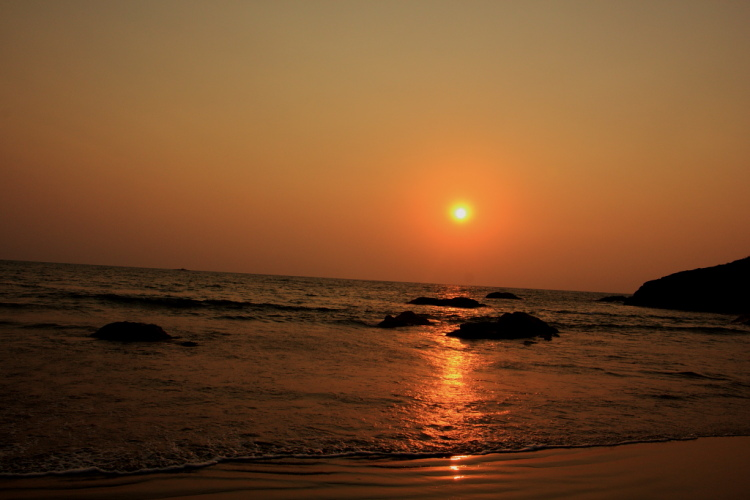 Calm sunset at kudle beach