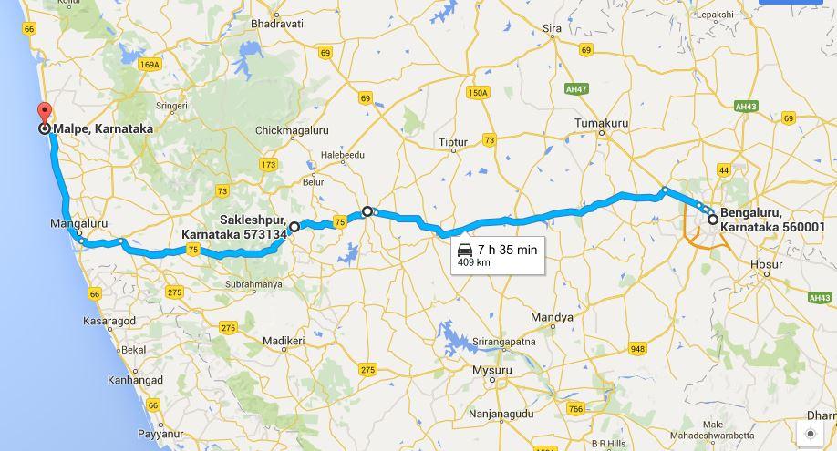 Karavali Road Trip Route Bangalore to Malpe