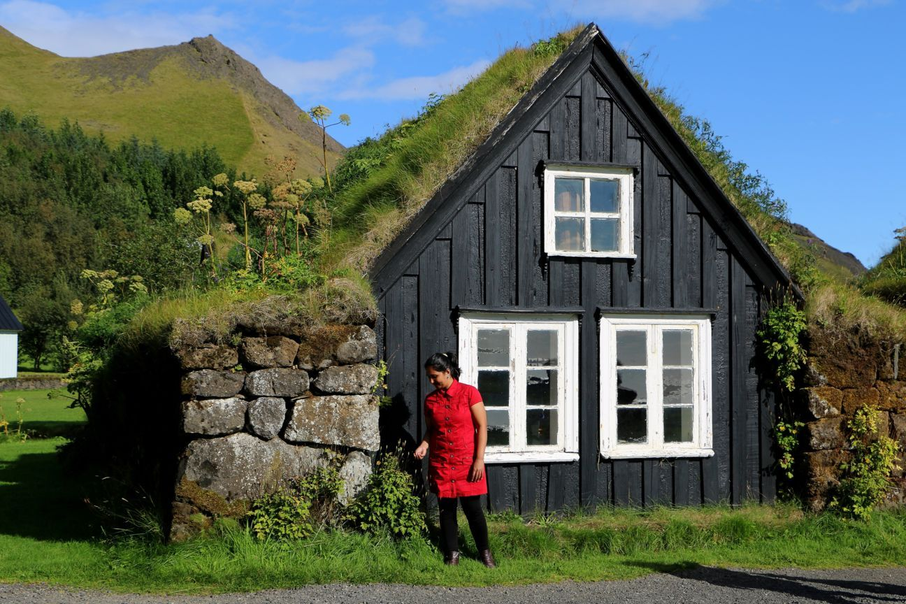 Traditional Icelandic houses at Skógar Folk Museum.