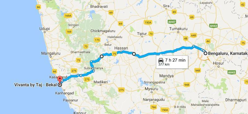 Bekal road trip | Route from Bangalore to Bekal with pit stops