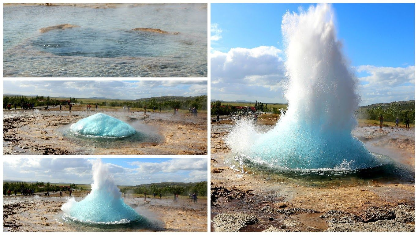 Different phases during the eruption of the Strokkur geyser.