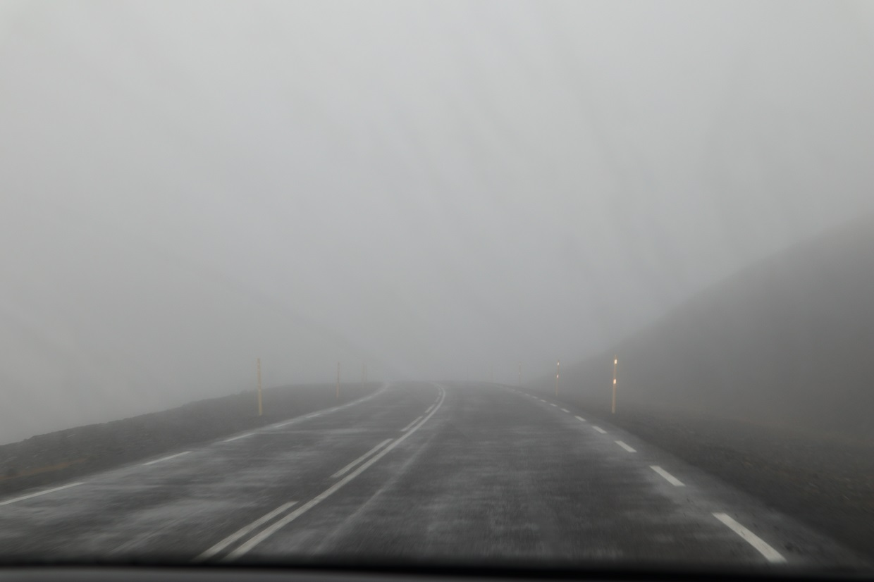 No visibility ont he way to Reykjavik Iceland